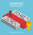 isometric businessman walking on red carpet over vector image vector image