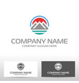 logo design with mountains and river vector image vector image