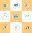 Modern Line Icons Set Modile Apps Game Cloud vector image