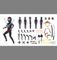 ninja animated character creation set vector image vector image