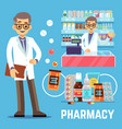 pharmacy elements with male pharmacist vector image vector image