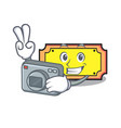 photographer ticket mascot cartoon style vector image