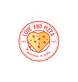 pizza vintage and love shape logo design vector image vector image
