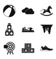 playful children icons set simple style vector image vector image