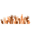 raised hands different race vector image vector image