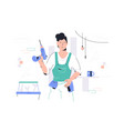 repairman with drill vector image vector image