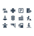 road traffic related icon set vector image vector image