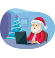 santa claus checking messages on laptop cartoon vector image vector image