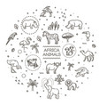 set linear african animals vector image