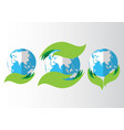 set of eco icon with earth vector image vector image