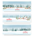 set of holiday christmas banners with a winter vector image