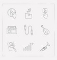 set of studio icons line style symbols with dj vector image