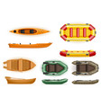 set rowing boats made of plastic wooden and vector image