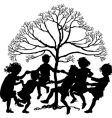 silhouette of children playing vector image vector image