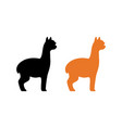 silhouette of peruvian alpaca in black and orange vector image