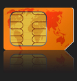 Sim card with a map of the world vector image