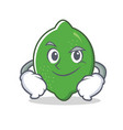 smirking lime character cartoon style vector image vector image