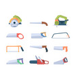 steel saws handle blades and saws for sawmills vector image