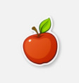 sticker red apple with stem vector image vector image