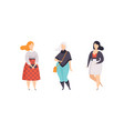 stylish plump women set plus size overweight vector image vector image
