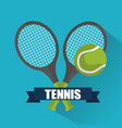 tennis cross racket ball banner emblem vector image