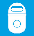 trash can icon white vector image vector image