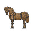 trojan horse color sketch engraving vector image vector image
