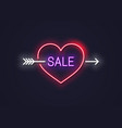 valentines day sale neon sign heart with arrow vector image vector image
