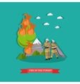 fire in the forest in flat vector image