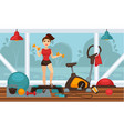 girl doing physical exercises with dumbbells in vector image