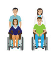 disability people in wheelchair with a hospital vector image