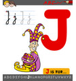 letter j with cartoon jester character vector image