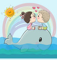 cute cartoon boy and girl are kissing vector image