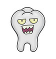 angry funny tooth cartoon character vector image vector image
