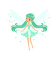 Beautiful smiling turquoise fairy girl flying