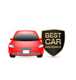 best car insurance shield logo with red car vector image