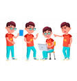 boy schoolboy kid poses set primary school vector image vector image