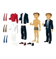Businessman Doll-Dress with a set of business vector image vector image