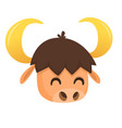 cartoon bison head vector image