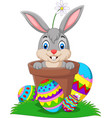 cartoon bunny in the pot with easter eggs vector image vector image
