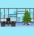 cartoon of decoration christmas tree in the office vector image vector image