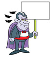 Cartoon vampire holding a sign vector image vector image