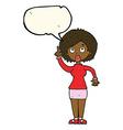cartoon woman with idea with speech bubble vector image vector image