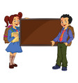 children standing beside a chalk board vector image