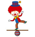 circus clown standing on the ball vector image vector image
