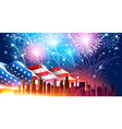 city with fireworks vector image vector image