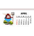 cute calendar 2021 year bull animal vector image vector image