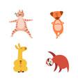 cute cartoon animals in yoga poses - hand drawn vector image vector image