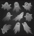 cute scary ghosts phantoms on transparent alpha vector image
