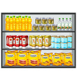 Different products on the shelves vector image